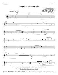 gethsemane sheet music download prayer of gethsemane violin 1 sheet music by lowell