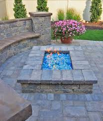 paver patio gas fire pit design with bench seating cleveland