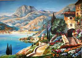landscapes handmade livemaster handmade oil painting on canvas italian landscape of lake