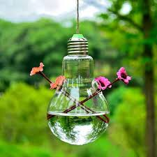 creative bulb shape hanging mini glass vase hydroponic plants flower container home decor office bedroom decoration tall vase tall vases from zhiliantan3