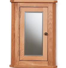 solid oak mirrored corner wall cabinet