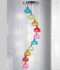 multi coloured bottle shade pendant either 5 or 10 light option