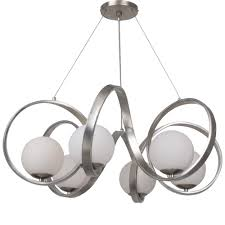 6 light antique silver mid century modern chandelier