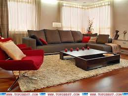 Brown and red living room