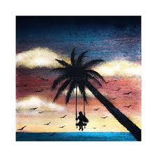 Painted Sky Designs Swings Girl Swing On Palm Tree Night Silhouette Original