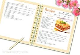 book template doc recipe template cook book pattern editable pages blank instant