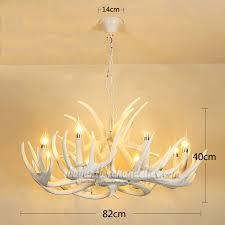 pure white deer antler chandelier eight ceiling lights rustic