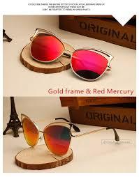 cat eyes sunglasses gold frame red designer