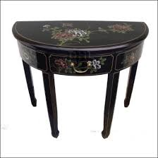 Laquered furniture Purple Black Oriental Bird And Flower Half Round Table Top View Anthropologie Oriental Lacquered Furniture Gloss Black Half Round Table