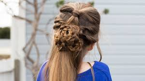 Flower Half Up Hairstyle Tutorial Cute Girls Hairstyles Cute