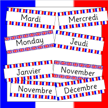 French Days Of The Week French Days And Months Cards
