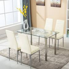 glass dining furniture. 5 piece dining table set w4 chairs glass metal kitchen room breakfast furniture