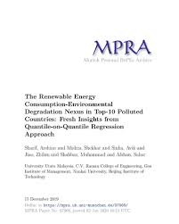 The Renewable Energy Consumption Environmental Degradation Nexus in Top 10  Polluted Countries: Fresh Insights from Quantile on Quantile Regression  Approach