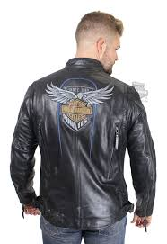 harley davidson mens 115th anniversary with reflective piping black leather jacket