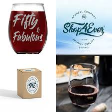 details about fifty fabulous laser engraved stemless wine gl 50th birthday gift 15 oz