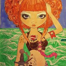 Pretty Pirate Polly, water markers and gel pen. Original art by Jasmine  Becket-Griffith; colored by Melinda Hancock   Becket, Jasmine becket  griffith, Original art