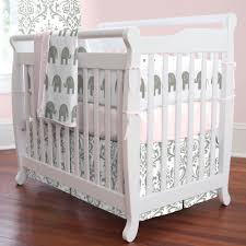 pink and gray elephants mini crib bedding