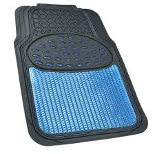 rubber floor mats. Car Rubber Floor Mats Blue Metallic Design On Black Heavy Duty