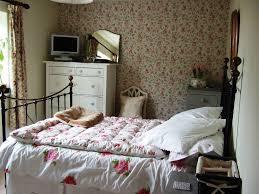 Shabby Chic Bedroom Wallpaper Shabby Chic Bedroom Green Light Blue Beadboard Wall Creamy Wall
