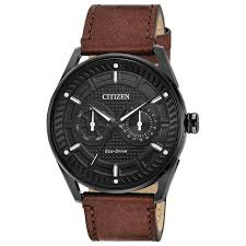 men s citizen eco drive check this out brown leather strap 42mm watch bu4025 08e reeds jewelers