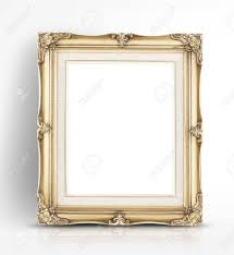 Blank Golden Vintage Photo Frame Lean At Wall In Glossy White
