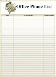 Phone Number List Template