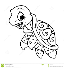 Little Sea Turtle Coloring Page Stock Illustration Illustration Of