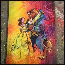 mixed a on beauty and the beast painting by artist designer shane grammer mixed a on