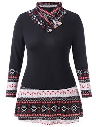 Panel Shirt Design Ladies Us 12 16 48 Off Wipalo Women Plus Size Tribal Print Panel T Shirt Shawl Collar Long Sleeves Patchwork Casual Ladies Tee Female Spring Tops 5xl In