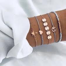 Bracelet <b>5 pieces</b> suit <b>woman fashion</b> gold silver beach party ...