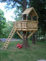 ... simple diy kids treehouse using cedar wood also simple roofing and  ladder ...