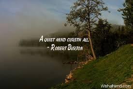 Quiet Quotes Stunning Robert Burton Quote A Quiet Mind Cureth All
