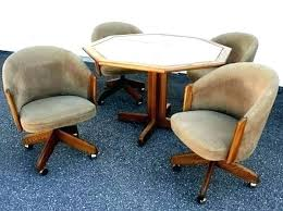 crafty design dining chairs with casters cal cushion swivel and tilt rolling caster chair table 4