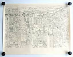 architectural drawings. Mid Century Architectural City Drawing PHILADELPHIA Friedrich Schonbach Print Drawings