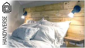Diy Pallet Headboard With Dimmable Lighting And Floating Shelves
