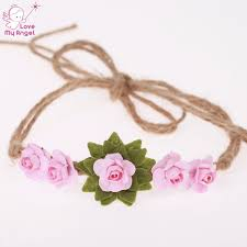 Paper Flower Headbands 1pcs Chic Rose Flower Princess Tie Back Headband Kids Paper Flower