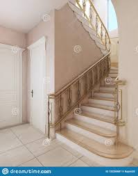 Floor Steps Design Staircase In The Interior Of A Private House In A Classic