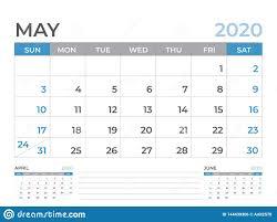 Calendar May 2020 May 2020 Calendar Template Desk Calendar Layout Size 8 X 6