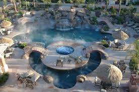 inground pools with waterfalls and hot tubs. Tropical Swimming Pool With Exterior Stone Floors, Pathway, Hot Tub, Fountain Inground Pools Waterfalls And Tubs