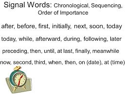 Chronological Words Text Structure Writers Use Text Structure To Construct Their Writing