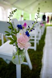 Blue Mason Jars Wedding Decor Hanging Mason Jar wedding aisle decor Blue and Purple Weddings 48