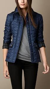 Best 25+ Quilted jacket outfit ideas on Pinterest | Black quilted ... & Leather Detail Quilted Jacket | Burberry Small | Steel Blue - $795.00 Adamdwight.com