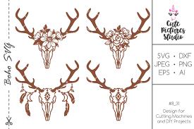 Download elk logo vector in svg format. Set Deer Skull Svg Dxf Floral Deer Antlers Svg Floral Skull 514176 Svgs Design Bundles