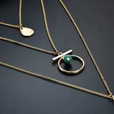 trendy design alloy natural stone pendant 3 layered necklace