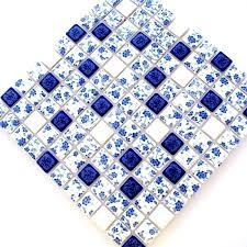 blue mosaic bathroom tiles and white tile glossy porcelain flower patterns kitchen floor