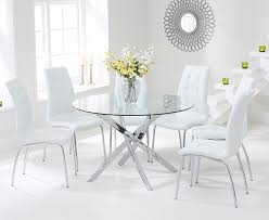 glass round dining table for 4 amazing bari 120cm set with forli white chairs pertaining to 3