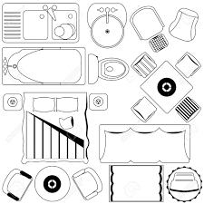 Icons Simple Furniture Floor Plan Outline Stock Vector Clipart For Furniture Clipart For Floor Plans