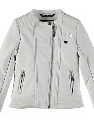 le chic girls faux leather biker jacket white