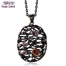 2019 dreamcarnival1989 neo gothic long necklace for women big oval hollow egg pendant red purple cz collier bijoux black gold color from caley