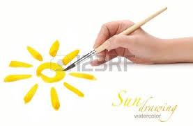 pincel dibujo. mano con pincel de dibujo sol, aislado foto archivo - 10480511